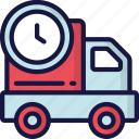 delivery, logistics, shipping, timed, truck icon