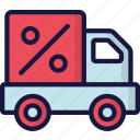 delivery, discounted, logistics, shipping, truck icon