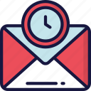 delivery, email, logistics, mail, shipping, timed icon