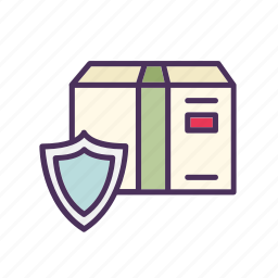 box, delivery, package, protection, shield, shipment, shipping icon