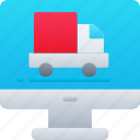 computer, delivery, logistics, online, shipping icon