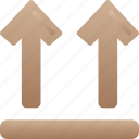 box sign, delivery, logistics, shipping, this, up, way icon
