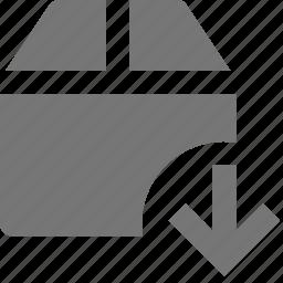 arrow, box, down, download icon