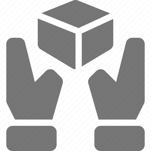 box, delivery, hands, share icon