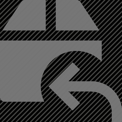 arrow, box, reply, return icon