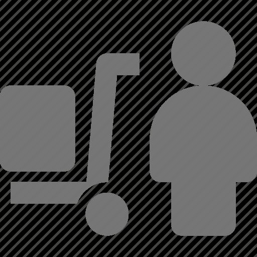 box, person, trolley, user icon