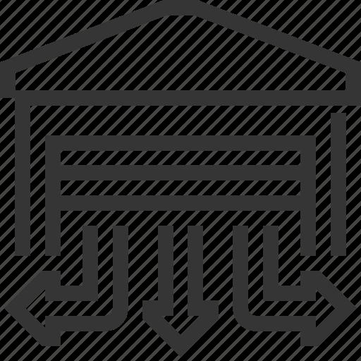 building, cargo, distribution, logistics, shipment, storage, warehouse icon