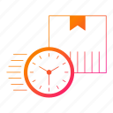 box, clock, logistics, shipping, timer, transportation icon