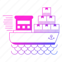 logistics, sea, ship, shipping, transportation icon