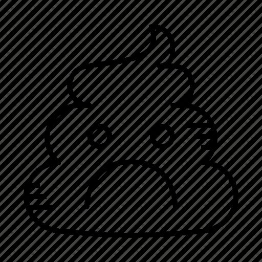 crap, dirt, excrement, feces, poop, sad, shit icon