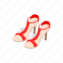 fashion, heel, high, isometric, sandal, shoe, woman icon