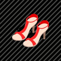 fashion, heel, high, isometric, sandal, shoe, woman icon