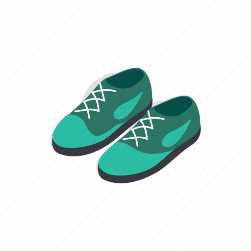 fashion, isometric, leather, male, pair, shoe, turquoise icon