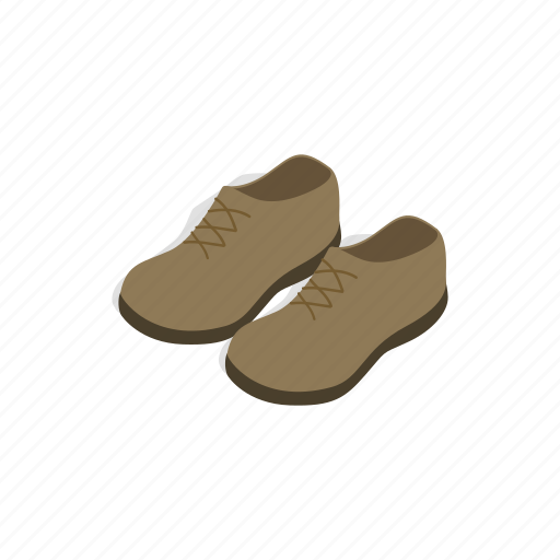 fashion, isometric, leather, male, pair, shoe, two icon