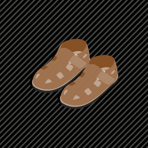 foot, footwear, isometric, male, sandal, shoe, summer icon