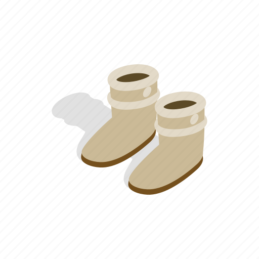 boot, fur, isometric, leather, pair, shoe, winter icon