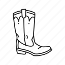boot, cowboy, cowboy boot, leather boot, shoe, western boot, work boot icon