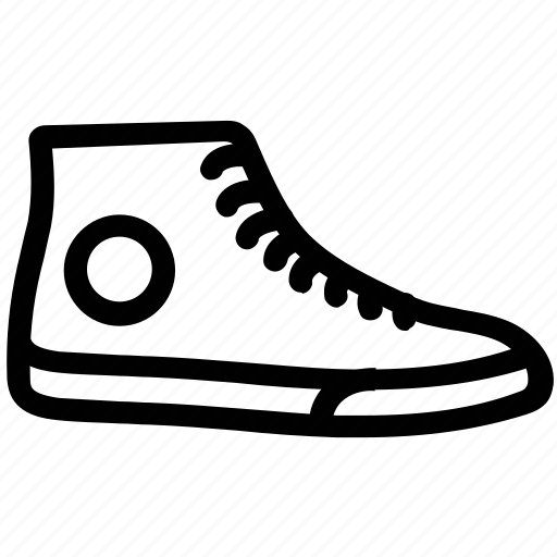 canvas ankle shoe, footwear, gym shoe, running shoe, shoe icon