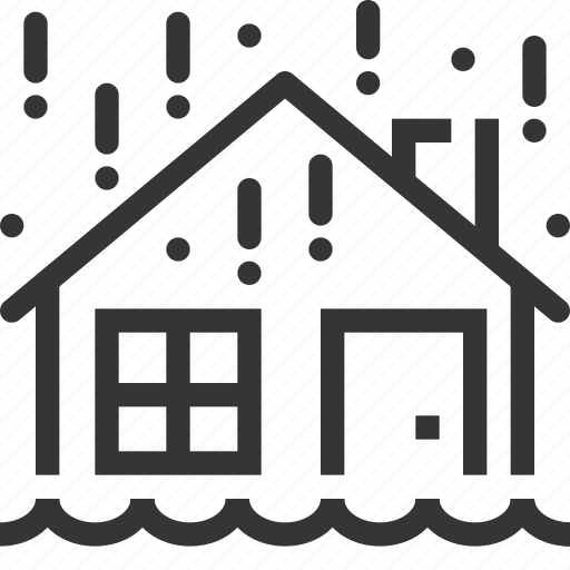 assurance, building, flood, house, insurance, natural disaster, rain icon