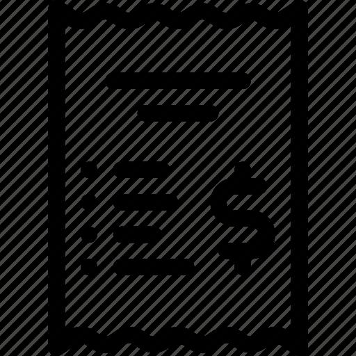 Bill, dollar, finance, payment, receipt icon - Download on Iconfinder