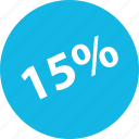 fifteen, off, percent, sale, shop icon
