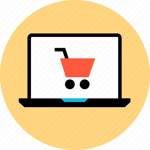 bought, buying, cart, laptop, merchandise, shopping, sold icon