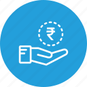 cash, coin, hand, investment, money, rupees, saving icon