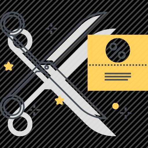 coupon, cut, discount, percent, scissors icon
