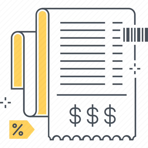 barcode, bill, invoice, legal, paper, shopping icon