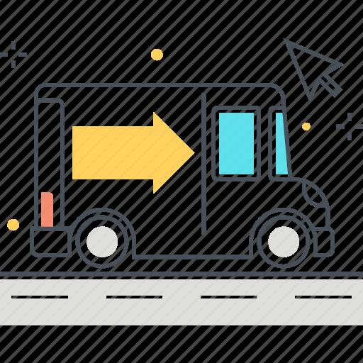 cursor, delivery, shipment, truck icon