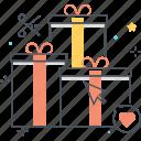 box, cardboard, discount, gift, heart, prezent, send icon