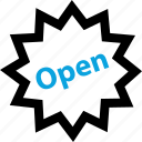 attention, now, online, open, shopping icon