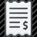 bill, finance, invoice, paper, payment, receipt