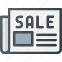 add, newsletter, newspaper, paper, press, sale icon