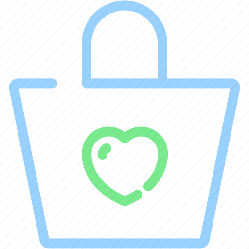 bag, buy, gift, good, heart, shop, shopping bag icon