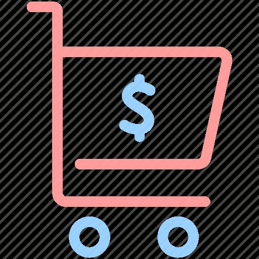 buy, cart, commerce, dollar, shopping, shopping cart, trolley icon