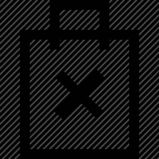cross, forbidden, hand bag, no, shop, shopping bag, shopping cart icon