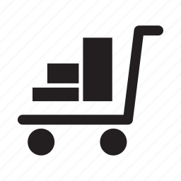cart, items, package, push, shopping, wheels icon