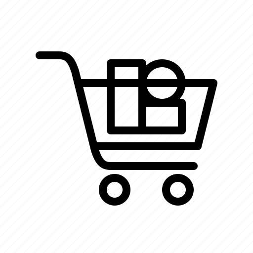 buy, cart, cart with products, products, shopping, shopping cart, shopping trolley icon