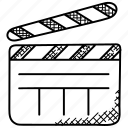 clapperboard, drama production, editing, media, multimedia, production icon