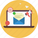 digital marketing, email, email marketing, laptop, marketing, online marketing icon