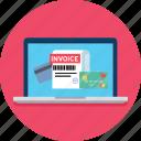 invoice, laptop, transaction icon