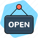 hanging sign, open shop, open signboard, shop sign icon