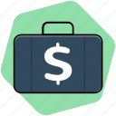 bag, briefcase, case, dollar bag, office icon
