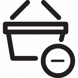 basket, clear, delete, minus, remove, shopping icon