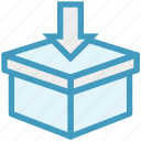 box, delivery box, in arrow, package, product box, shipping, shopping icon