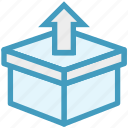 box, delivery box, out arrow, package, product box, shipping, shopping icon