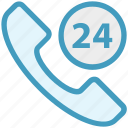 24 hours, call, commerce, shopping, support, talk, telephone icon