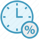 alarm, clock, percentage, shopping, time, watch icon