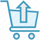 buy, cart, in arrow, product, shopping, shopping cart, trolley icon